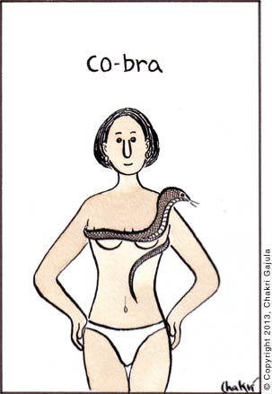 A lady in bikini wearing cobra snake as a bra, with a caption 'Co-bra'