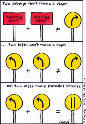 traffic signs logic: two wrongs don't make a right, two lefts don't make a right, but two lefts make parallel streets