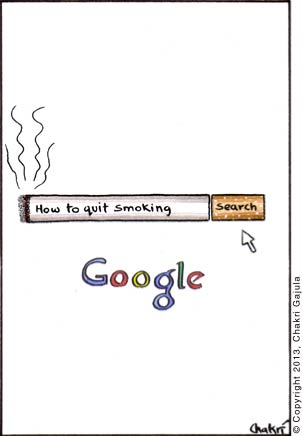 Google's search box looks like a cigarette with the search button as cigarette's butt, with this text in the search box 'How to quit smoking'