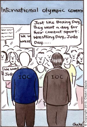 Various combat sport athletes striking outside International Olympic Committee's building while one IOC official to the other 'Just like Boxing Day, they want a day for their combat sport: Wrestling Day, Judo Day .....'
