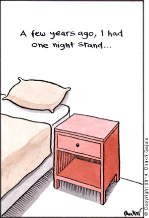 A bedroom is portrayed with a bed and a night stand next to it with a caption 'A few years ago, I had one night stand'