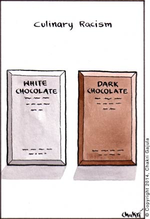 Culinary Racism: A While Chocolate bar is juxtaposed with a Dark Chocolate bar