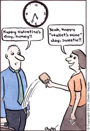 Husband 'Happy Valentines Day, honey' and the wife going 'Yeah, happy Wallets mine day, sweetie'