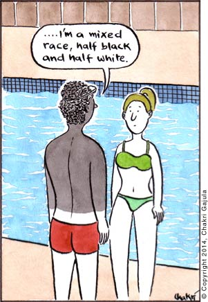 At a swimming pool, a man in shorts, with his upper half black and lower half white, saying to a woman in bikini '.... I'm a mixed race, half black and half white'