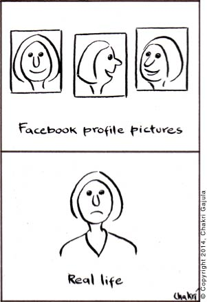 A comparison of happy Facebook profile pictures versus real life's sad face