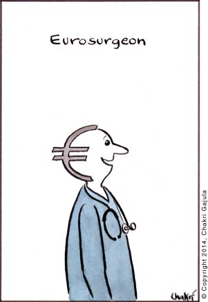 Eurosurgeon: A surgeon with a Euro sign at the back of his head