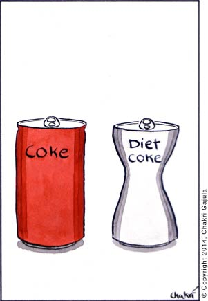 Regular coke can next to a diet coke can that's curvy shaped, like a girl's body