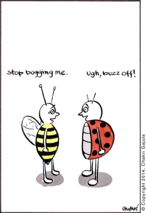 A bee to a lady bug 'Stop bugging me.' and the lady bug saying 'Ugh, buzz off!'
