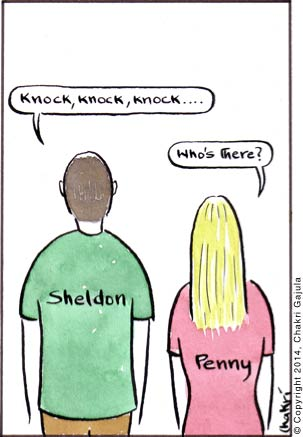 Sheldon from 'The Big Bang Theory' going 'Knock, knock, knock ....' and Penny asking the typical question for a knock-knock joke 'Who is there?'