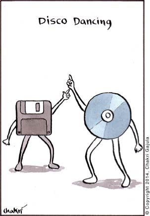 A floppy disc and a CD/DVD disco dancing