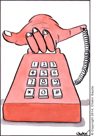 Old phone with handset designed as a thumb and a pinkie - the typical way people use for phone sign