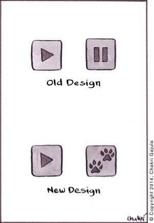 Older design of Play and Pause buttons are compared with new design where pause button is portrayed with Paws