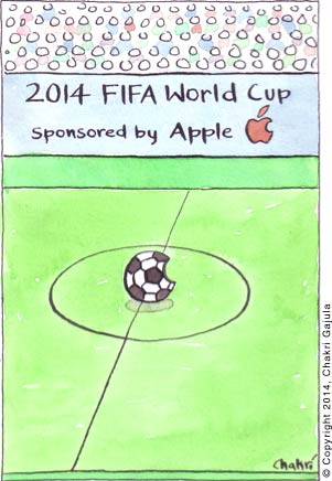 2014 FIFA World Cup - Sponsored by Apple.  Just like Apple's logo of half eaten apple, the football/soccer ball is shown half eaten.