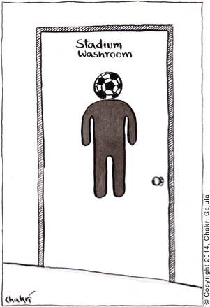 At a soccer stadium, the typical sign for Men's washroom is shown with a football/soccer ball instead of head