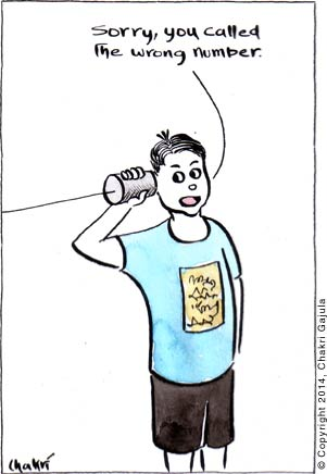 A kid on the can phone 'Sorry, you called the wrong number'