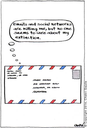 A postal letter/envelop thinking 'Emails and social networks are killing me, but no one seems to care about my extinction'