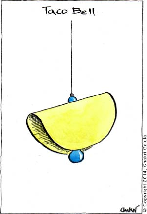 aco Bell - a bell made of a typical hard shell, yellow colored taco