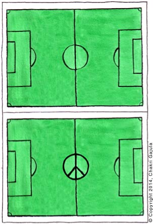 A typical football/soccer field is compared with a modified version where the center circle is shown as a Peace sign