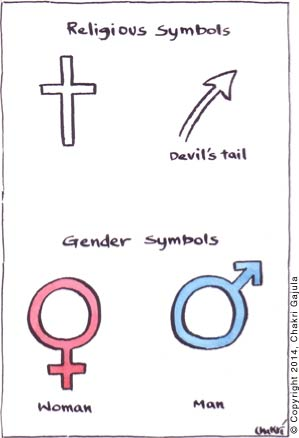 Religious symbols of cross and Devil's tail are compared with gender symbols
