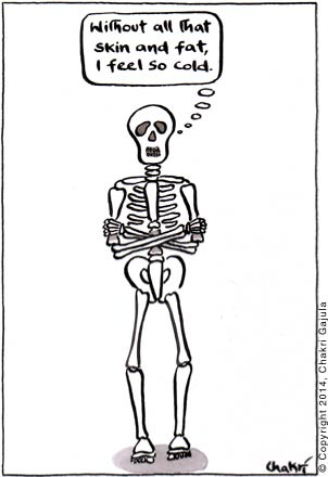 A skeleton thinking 'Without all that skin and fat, I feel so cold'