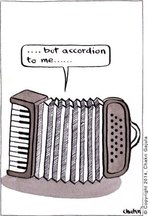 An accordion saying '.... but accordion to me ....'