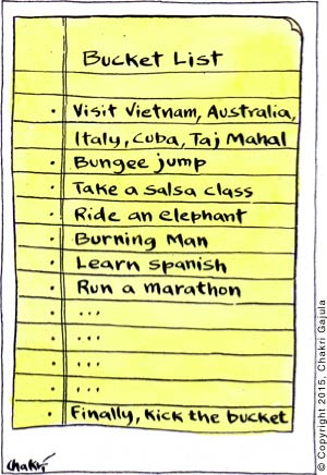 Bucket List: visit Vietnam, Australia, Italy, Cuba, Taj Mahal; Bungee jump; Take a salsa class; Ride an elephant; Burning Man; Learn Spanish; Run a marathon; .......... Finally, kick the bucket