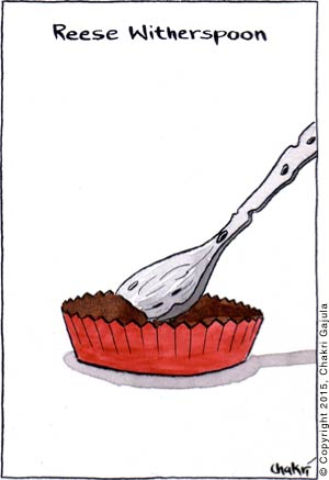 Reese Witherspoon: A Reese's peanut butter cup is shown with a withered spoon scooping into it