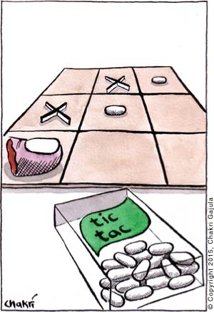A winning tic tac toe board is shown tictacs and a human toe