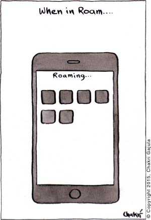 A smart phone under roaming with a caption