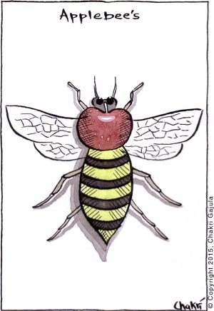 Applebee's: A bee is shown with an apple as part of it's body