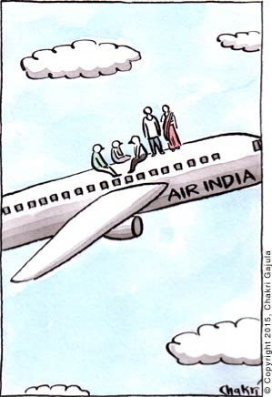 Like trains in India, an Air India flight is shown with travelers on top of the plane
