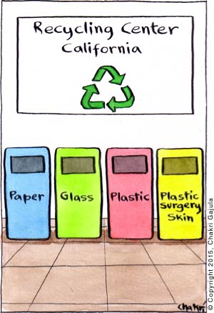 At a Recycling Center in California, the bins are labeled: Paper, Glass, Plastic and Plastic Surgery Skin
