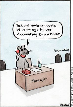 A rat/mice manager on the phone, with couple of rat/mice openings in the background, saying 'Yes, we have a couple of openings in our Accounting Department.'