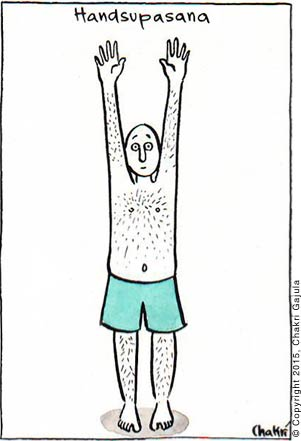 A yoga practitioner with both hands up in the air with caption: Handsupasana