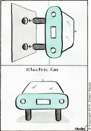 An electric car is shown as a plug that directly goes into an electric outlet, where the types act as plug pins