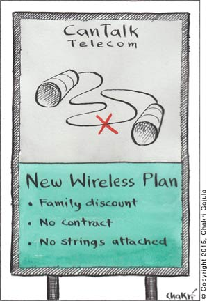 An ad for a can phone telecom company is showed that says 'New Wireless Plan: Family discounts, No contracts, No strings attached'