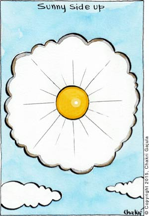 Clouds and Sun are shown as egg whites and a yolk with a caption: Sunny side up