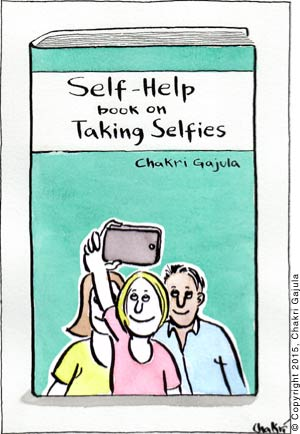 A book titled 'Self-Help book on Taking Selfies' is shown