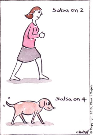 Salsa 'On 2' - a lady dancing salsa.  Salsa 'on 4' - a dog dancing salsa