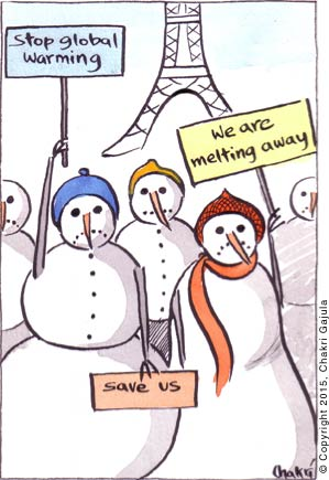 Snowmen and snowwomen holding signs like 'Stop global warming', 'We are melting awat' 'Save us' at UN Climate Change Conference in Paris