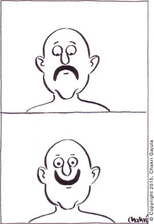 A man with a typical mustache/moustache sees himself as looking unhappy, so starts growing his mustache upside down