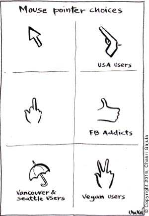 Various choices of mouse pointer are shown: regular, gun for USA users, one with middle finger, 'like' for Facebook addicts, an umbrella for Vancouver & Seattle users, and V shaped hand sign for Vegans