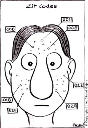 Zit Codes: A young man's face is shown with a lot of zits that are numbered