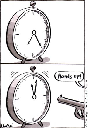 Panel 1: An old table clock showing a time of 7:25.  Panel 2: Someone going 'Hands up!' with a gun and the clock raising both its hands to show a time of 11:03