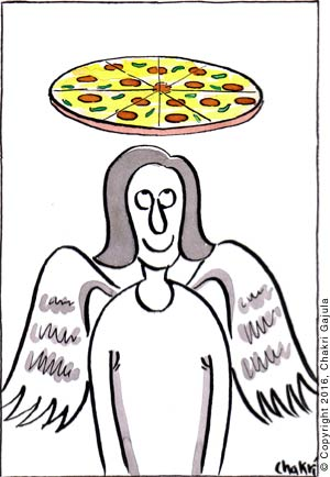 An angel with a pizza on top of herhead instead of halo