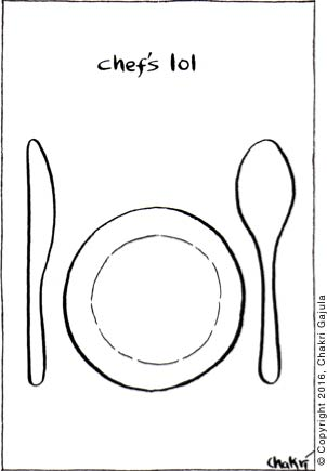 Chef's lol: a cutlery knife, an empty plate and a spoon shown in that order to make them look like lol