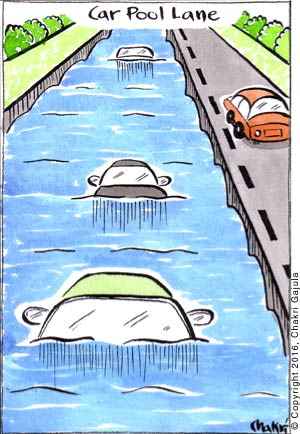 A car pool lane is shown in a swimming pool style lane.